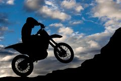 Motocross - silhouette Royalty Free Stock Photo