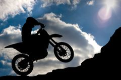 Motocross - silhouette Royalty Free Stock Photography