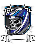Motocross skull rider. Skull wearing helmet with banner below and sheild and racing flag as a background Royalty Free Stock Photography