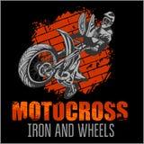 Motocross sport - grunge poster. Motocross sport - grunge vector emblem for t-shirts Stock Image