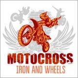 Motocross sport - grunge poster. Motocross sport - grunge vector emblem for t-shirts Stock Photo