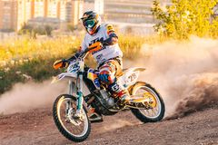 Motocross sport photo extreme, dirt championship, rider royalty free stock photo