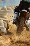 Motocross sprint. In dirt track Royalty Free Stock Photo
