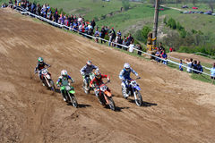Motocross-after start. Stock Photo