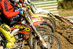 Motocross start line Royalty Free Stock Photos