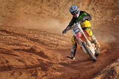 Motocross is taking a corner Royalty Free Stock Image