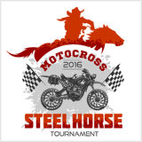 Motocross Tournament emblem - moto and horse for t-shirts on white background Royalty Free Stock Image