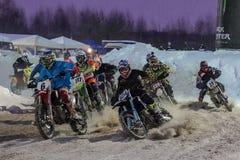 Motocross tournament Moscow, 3 February 2019 stock image