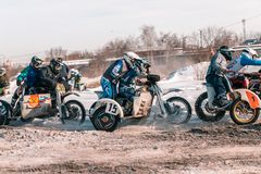 Motocross tournament in winter in Siberia Omsk royalty free stock photography