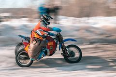 Motocross tournament in winter in Siberia Omsk stock photography