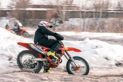 Motocross tournament in winter in Siberia Omsk royalty free stock image