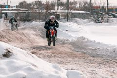 Motocross tournament in winter in Siberia Omsk royalty free stock images