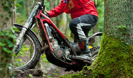 Motocross trial in the wood Stock Photography