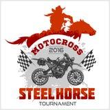 Motocross turnieju emblemat - moto i koń dla koszulek na białym tle Obraz Royalty Free