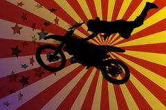 Motocross. Vector silhouette motocross rider on stars background Royalty Free Stock Photo
