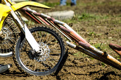Motocross wheel on start line Royalty Free Stock Image