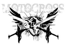 Motocross wings. The symbol of the motocross in the vectors Stock Photos