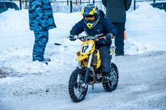 Motocross in winter Royalty Free Stock Photos
