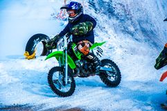 Motocross in winter Royalty Free Stock Photo