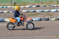Motocross is a young athlete to 4 years. Motocross Junior Championships, city of Orenburg, Southern Ural, Russia Stock Photos
