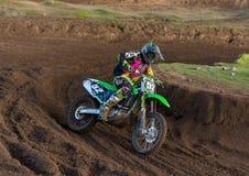 Motocrossar öva deltagaren i Tain MX, Skottland. Arkivbild