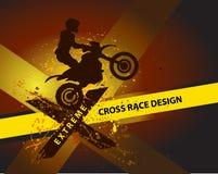 Motocrossbakgrundsdesign med grungebeståndsdelen och ställe för text Stock Illustrationer
