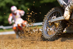 Motocrosser. Some mud in a motocross competition Stock Photography