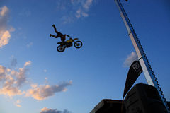 Motocrosser. The daboot freestyle motocross show held in colico the 4th july, the drivers are Alvaro Dal Farra and Vanni Oddera Stock Images