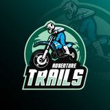 Motocrossmaskottchenlogo-Entwurfsvektor mit moderner Illustrationskonzeptart für Ausweis-, Emblem- und Shirt-Drucken motocross stock abbildung