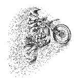 Motocrosspartikelentwurfs-Vektorillustration stock abbildung