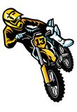 Motocrossreiter in der Tat stock abbildung