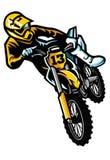 Motocrossryttare i handling stock illustrationer