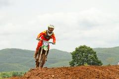 Motocrosssport. Motocrosscykel i ett lopp. Royaltyfria Bilder