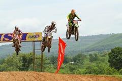 Motocrosssport. Motocrossfahrrad in einem Rennen. Stockbild