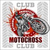 Motocrosssportemblem stock illustrationer