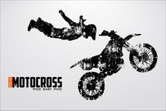 Motocrosstreiberschattenbild Auch im corel abgehobenen Betrag