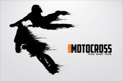 Motocrosstreiberschattenbild Auch im corel abgehobenen Betrag lizenzfreie abbildung