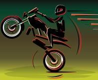 Motocrosstreiberschattenbild Motorradmotorrad Motorradrennläufersport lizenzfreie abbildung