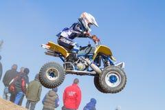 Motocrross em Letónia, no motorista e na motocicleta Foto do curso Fotografia de Stock Royalty Free