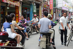 Motocycle crowd go through the street. Motocycles crowd go through the street,  longhai city, china Royalty Free Stock Photography