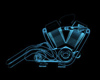 Motocycle engine. (3D x-ray blue transparent isolated on black Royalty Free Stock Images