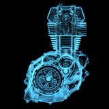 Motocycle engine. (3D x-ray blue transparent isolated on black Royalty Free Stock Image