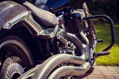 Motocycle steel detail, close-up. Outdoors Royalty Free Stock Image