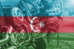 Motocycle travel theme with blending  Azerbaijan flag Stock Photography