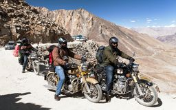 Motocycles brand Royal Enfield in highest road pass Royalty Free Stock Photos