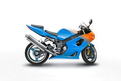 Motocyclette bleue Images libres de droits