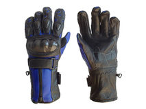 Motocyclette emballant des gants Photo libre de droits