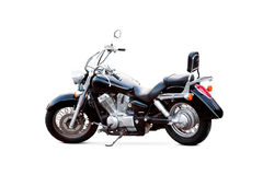 Motocyclette noire sur le fond blanc Photographie stock