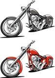 Motocyclette rouge d'isolement sur le fond blanc Image stock