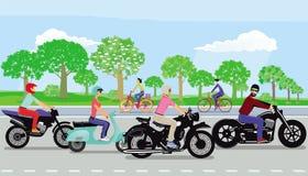 Motocyclettes de monte de personnes illustration de vecteur